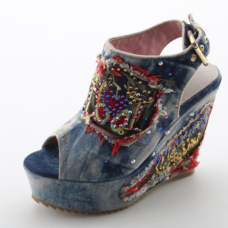 Desinger sapatos de verão salto alto mules aberto dedo do pé denim azul jeans sandálias marca luxo mulher cunhas peep toe cowboy tornozelo botas - 4