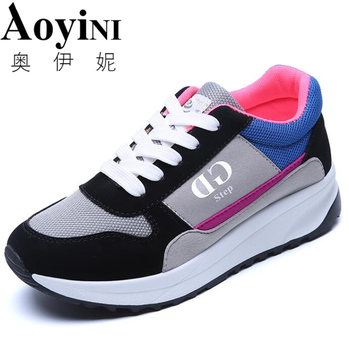 2018 Sping Fashion Female Shoes Lace-up Mixed Colors Women Casual Shoes Hard-wearing Sweat Women Sneakers Shallow Size 35-40