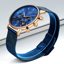 LIGE Blue Watch Top Brand Luxury Fashion Casual Men's Waterproof Quartz Watch Men Ultra-thin Mesh Steel Clock relogio Masculino