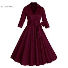 Charmian Sexy Autumn Dress Women's Retro Vintage Dress Elegant Audrey Hepburn Half Sleeve Casual Office Dress Plus Size Vestidos