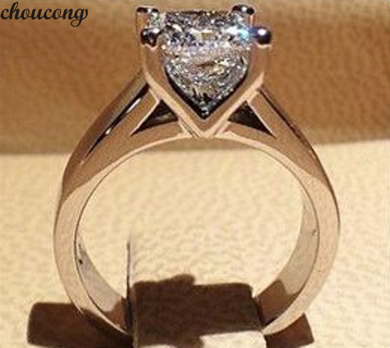 Choucong Hollow Ring 925 Sterling Silver Princess Cut AAAAA Zircon Cz Engagement Wedding Band Rings For Women Bridal Jewelry
