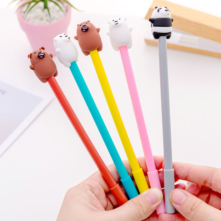 цена на Cartoon Three Bear Bare Bear Gel Pen Signature Pen Escolar Papelaria School Office Supply Promotional Gift