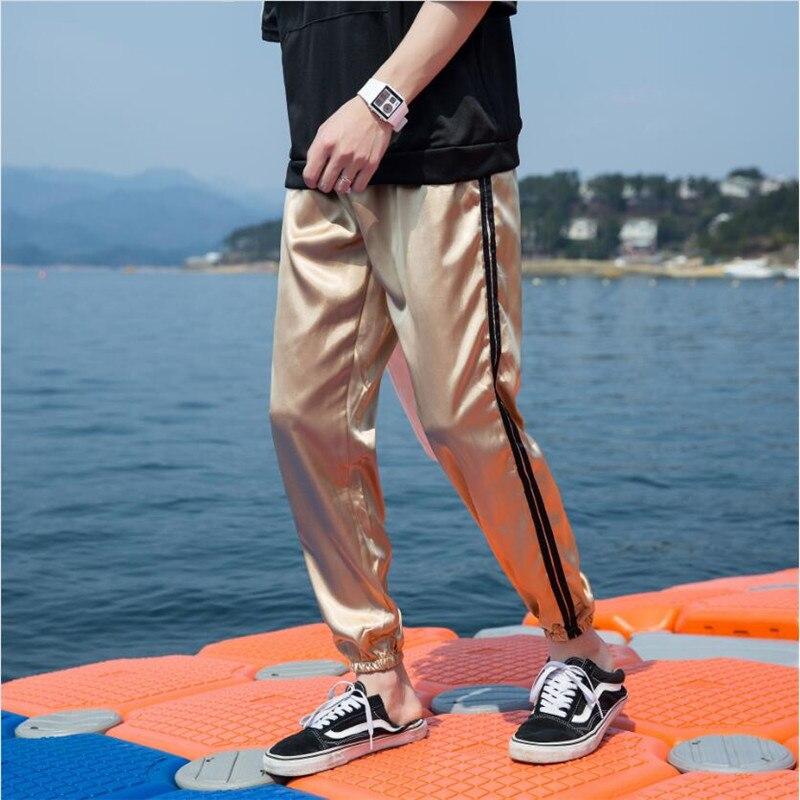 Golden Joggers Pants Men 2019 Breathable Thin Harem Pants Male Korean Casual Loose Street Noble Pant Mens Trouser A5525