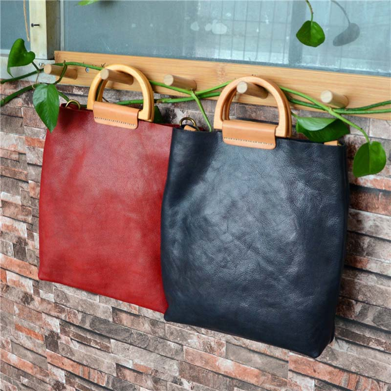 Literary fan leather simple handbag vegetable tanned skin color tree cream soft tote bagLiterary fan leather simple handbag vegetable tanned skin color tree cream soft tote bag