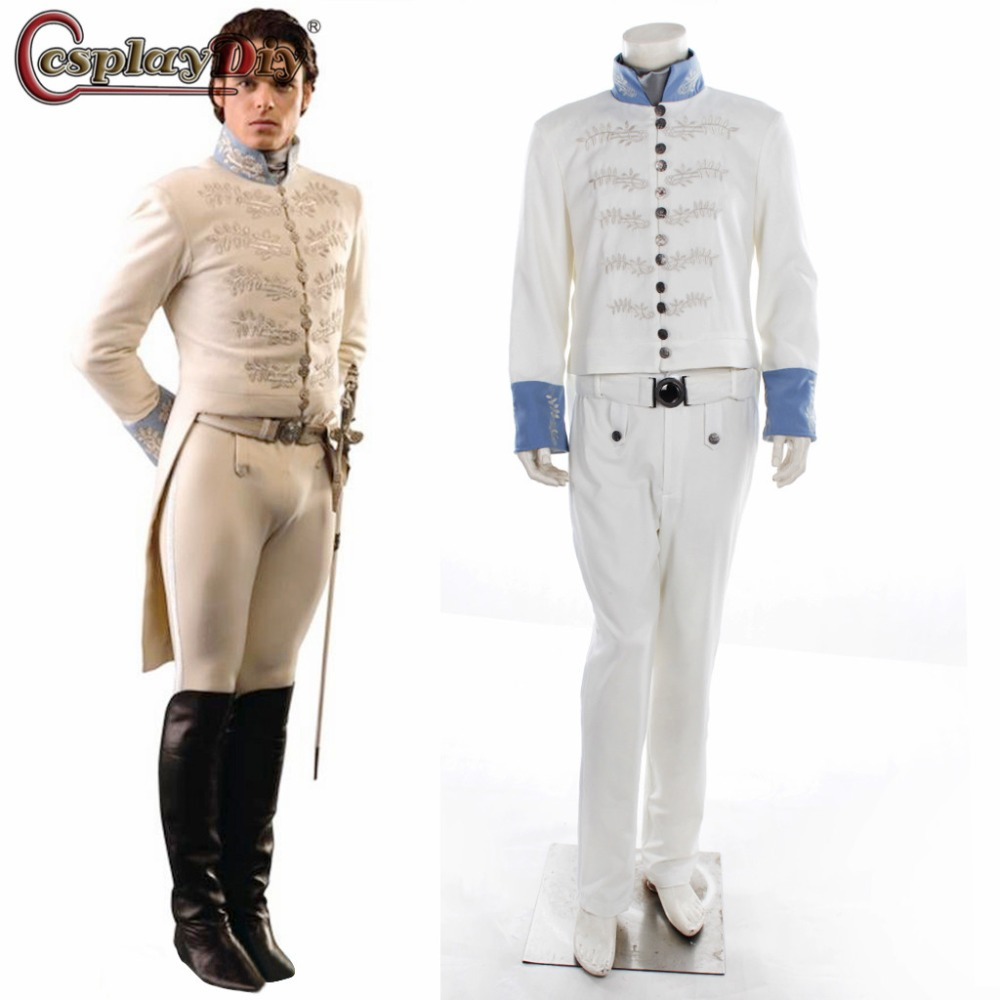 Cosplaydiy cendrillon Prince charmant Richard Madden Cosplay tenues broderie Costume de smoking hommes costumes blancs fête d'halloween
