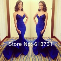 2014 New Arrival Elegant V Neck Satin Royal Blue Mermaid Prom Dresses Long Evening Gown With Ruffles Bottom For Special Occasion