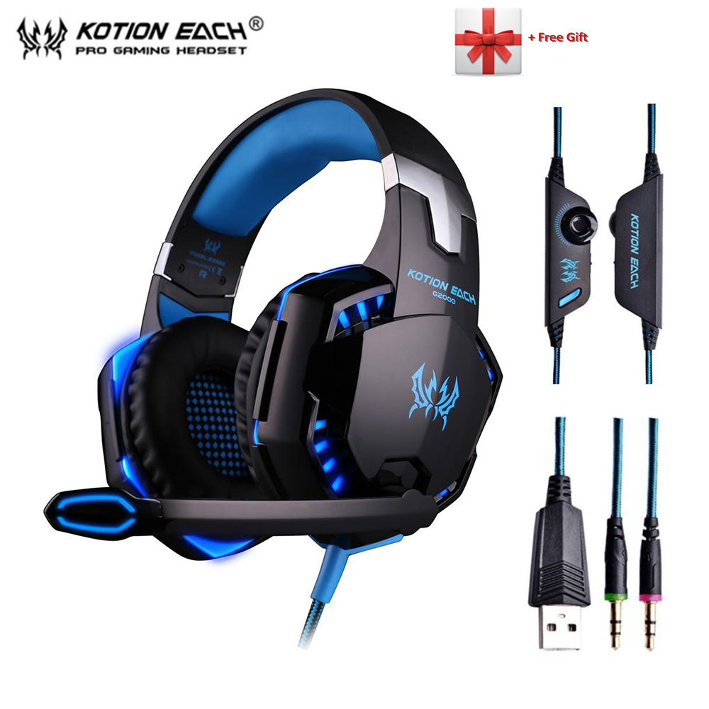 Deep Bass Gaming Headset G2000 Gamer Headphone  Wired Earphone with Microphone LED Light Noise Canceling for Computer PC Gamer super bass gaming headphones with light big over ear led headphone usb with microphone phone wired game headset for computer pc