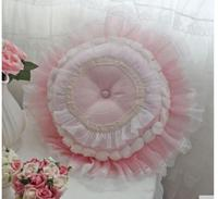 romantic lace fringe cushion throw pillow pink wedding round throw pillow seat cushion indoor