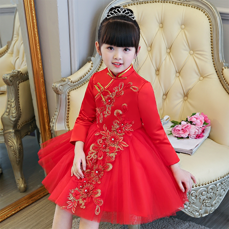 2017Fashion Chinese Style Girl Kids Retro Red Embroidery Cheongsam Dress Babies Qipao Spring Autumn Birthday Wedding Party Dress 2017 autumn chinese style girl dress cotton short sleeve chinese cheongsam for kids baby girls qipao girls clothes