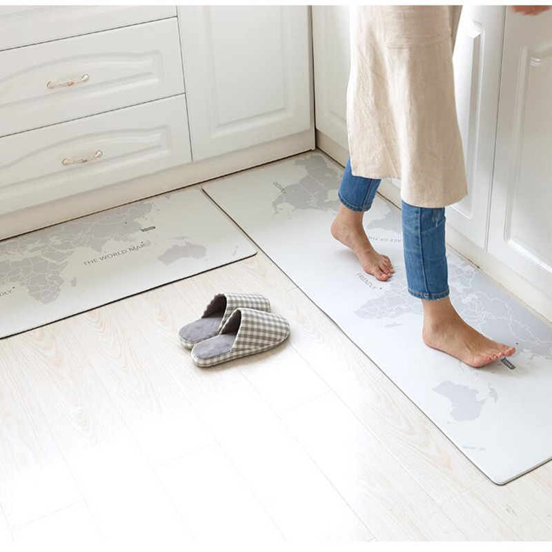 45X75CM+45X150CM/Set Long Kitchen Floor Mat Waterproof/Oil Proof/Anti-skid Carpet Home Anti-fouling PVC Leather Material Mats