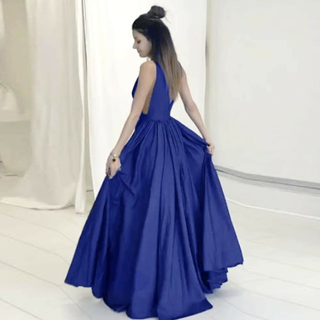 HGS210 Hot Sale Sexy V Neck Long Evening Dresses A Line China Floor Length Simple Blue Beautiful Prom Gowns 2018