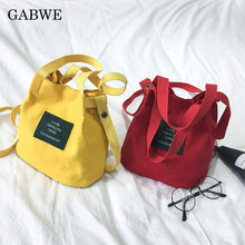 b7ed30cb95f6c GABWE Yeni kadın askılı omuz çantası kanvas çanta Kore Kız Bayanlar için  askılı çanta Mini Crossbody