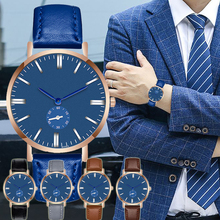Ultra Thin Men Watches Casual Brand Blue CreativityQuartz Minimalism Simple WristWatch Leather Strap Business Relogio Masculino цена