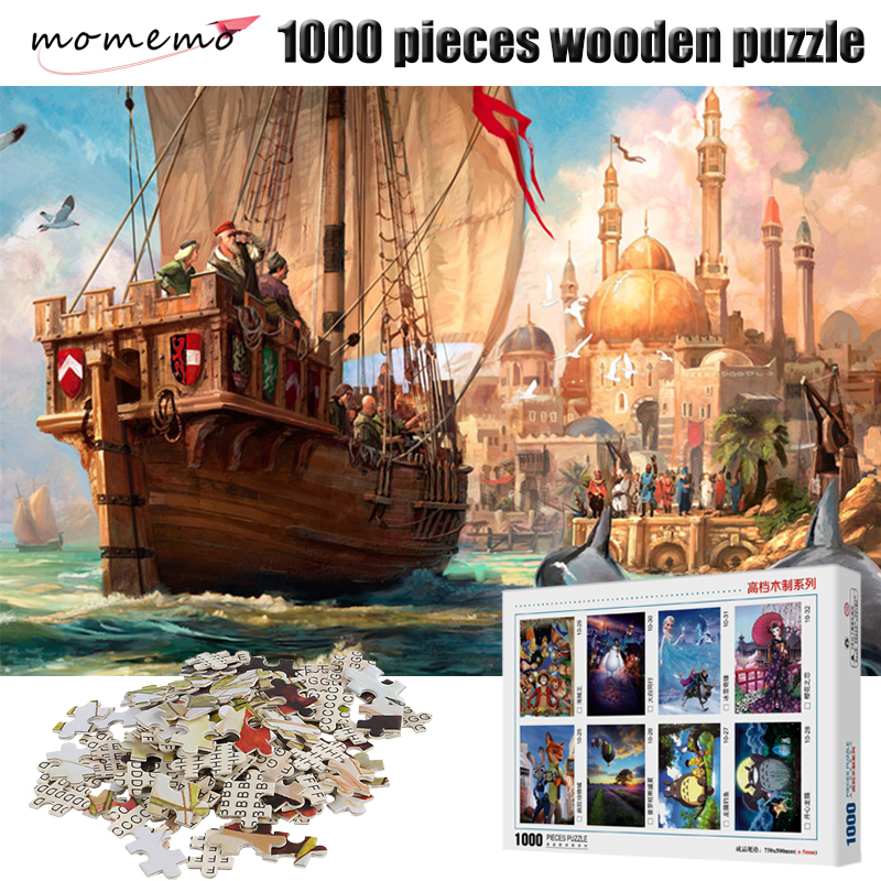 MOMEMO A Ship To Sail Adult Puzzles 1000 Pieces Wooden Puzzle Jigsaw Puzzle Games Landscape Puzzles Wooden Toy for Children Kids