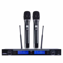 UHF Wireless Microphone System 2 Channel Cordless Microphones Kraoke Speech Party supplies Cardioid Professional