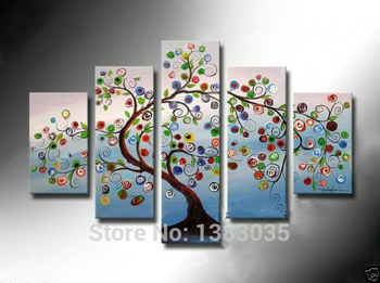 Abstract Tree Of Life Art Handmade Oil Painting Modern Picture 5 Piece Wall Decor Canvas Set For Living Room