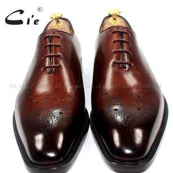 cie Square Toe Bespoke Custom Handmade Genuine Calf Leather Outsole Breathable Men\'s Oxfords Shoe Brown OX183 Mackayc/Blake raft