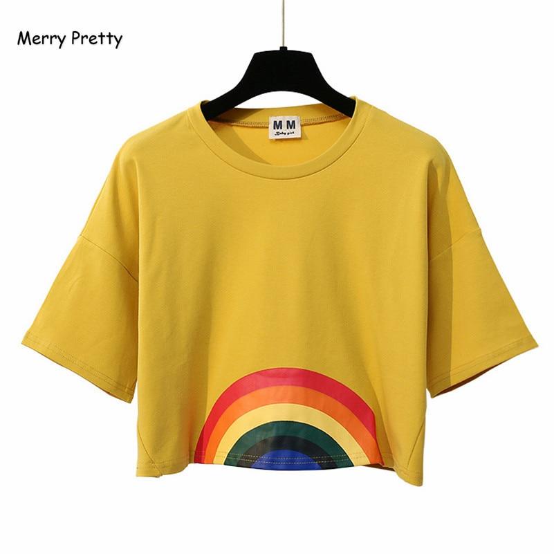 Frohe Ziemlich Neue Mode Harajuku Frauen T-shirt Kawaii Regenbogen Print Crop tops Tees Nette Baumwolle Top Kurzarm T-Shirts