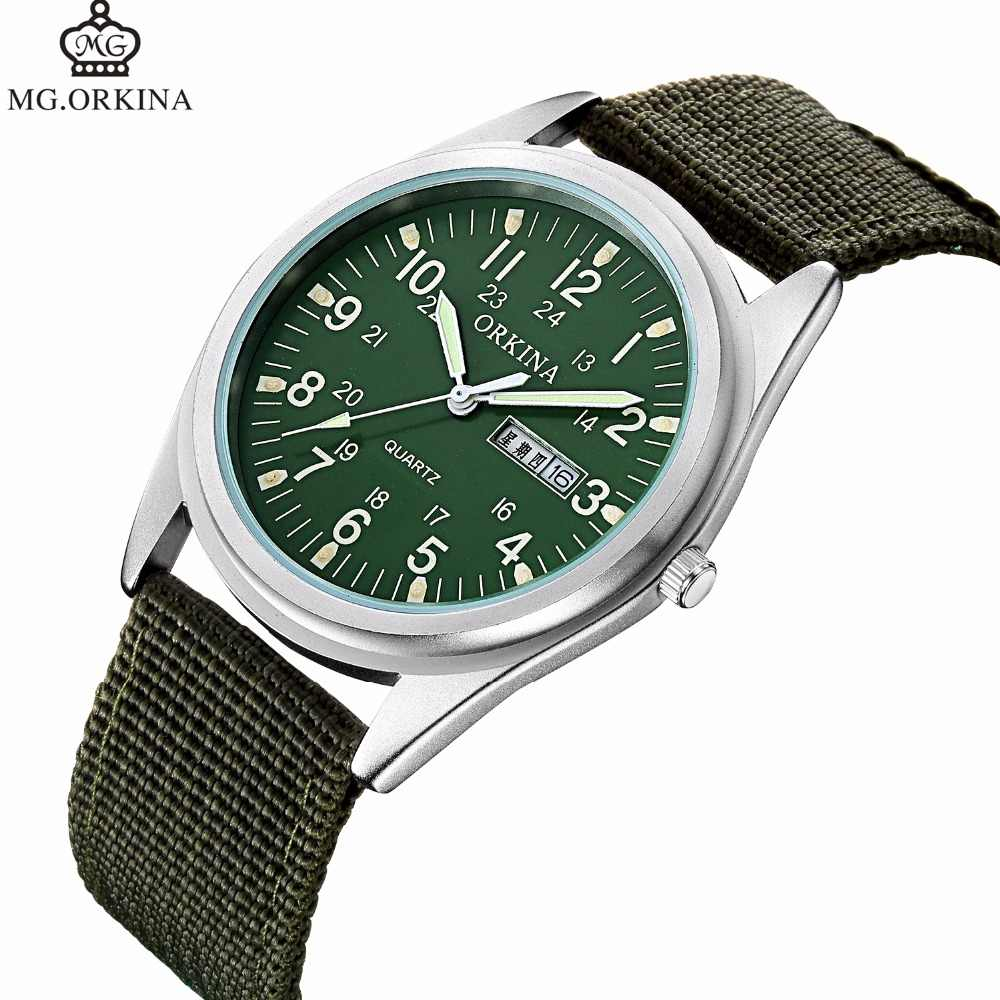 2018 New Famous ORKINA Brand Men Date Quartz Watch Army Military Green Canvas Strap Analog Watches Sports Clock Wristwatches