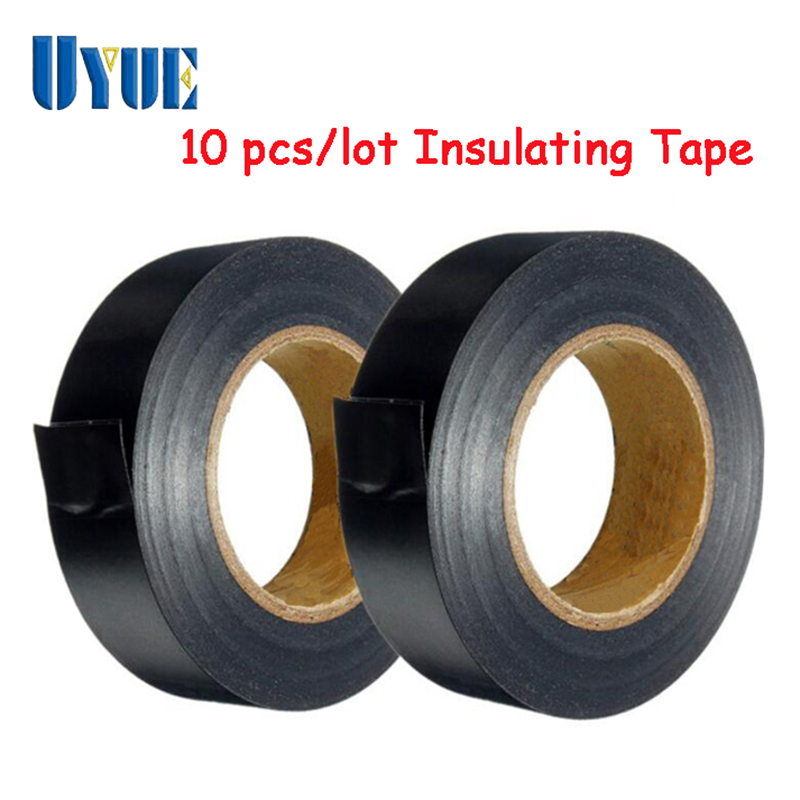 10 PCS/lot High Quality Black PVC Flame Retardant Adhesive Vinyl Electrical Insulation Insulating Tape 19mm X 20m