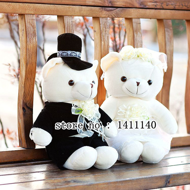 23cm Tall Teddy Bear Couple Wedding Cake Topper Decoration Car Decorations Gifts Favors Freet