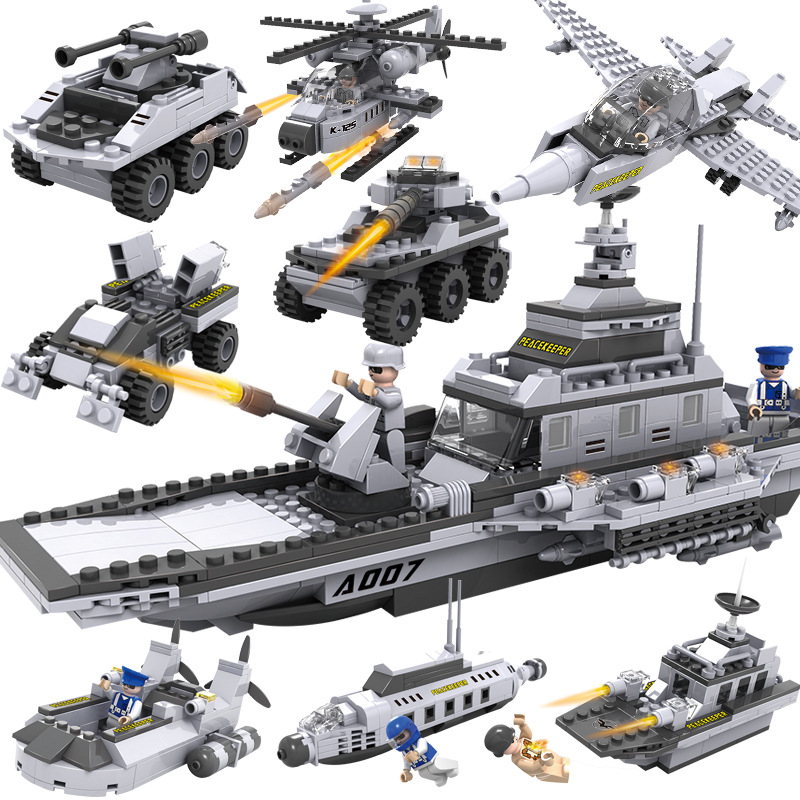 8 in 1 Model Building blocks Cogo 13007 warships Series city Aircraft airplane ship Bus tank police small Bricks Child Toys gift cogo 743pcs set diy educational 8 in 1 armed building blocks model military weapon ship tank fighter assembling bricks toys kids