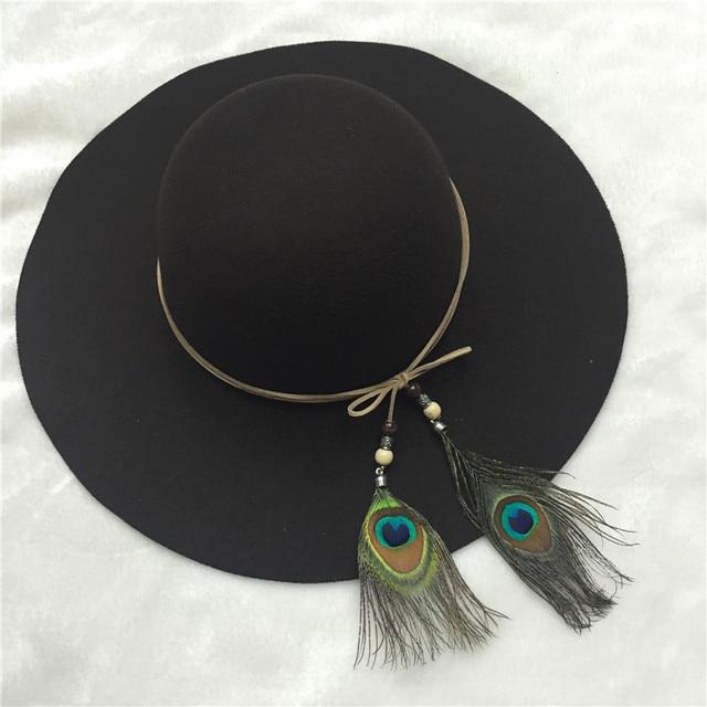 1f8e02f077c7c2 New Vintage fashion black Fedora Hats with peacock feather headband Felt Hat  for Women wide brim retro church classic hats