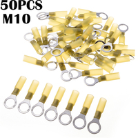 50pcs Heat Shrink Yellow Ring M10 Insulated Electrical Wire Cable Connectors Types Auto AWG 12 10