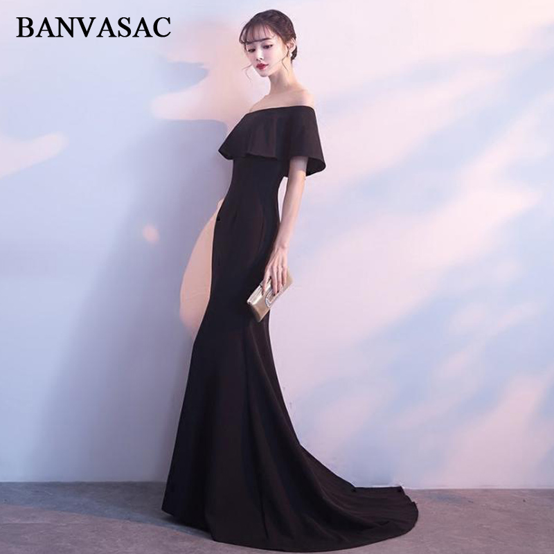 BANVASAC 2018 Boat Neck Satin Sweep Train Mermaid Long   Evening     Dresses   Elegant Party Short Sleeve Backless Prom Gowns