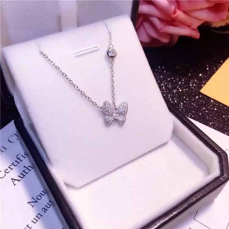 DIEERLAN Full Crystal 925 Sterling Silver Butterfly Long Necklaces Pendant For Women Vintage Hot Fashion Statement Necklace