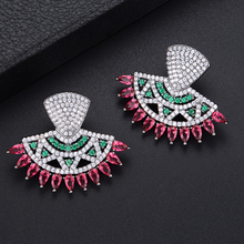 SisCathy Trendy Multicolor Cubic Zirconia CZ Earrings Engagement Wedding Party Nightclub Statement Earring Stud Ear Accessories siscathy hot trendy simple moon star earrings elegant cubic zirconia long drop earring for women grils ear jewelry accessories