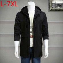 2017 increase size 8XL 7XL 6XL 5XL fashion leisure cap zipper windbreaker coat jacket men's long men's coat Long Free freight
