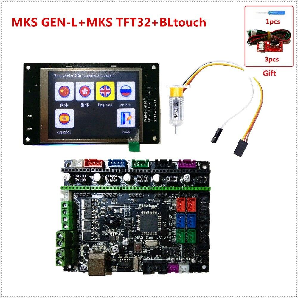 MKS GEN L V1.0 + MKS TFT32 V4.0 táctil LCD display + 3D BLtouch barato 3D tarjeta electrónica kit openbuilds para 3d impresora arranque