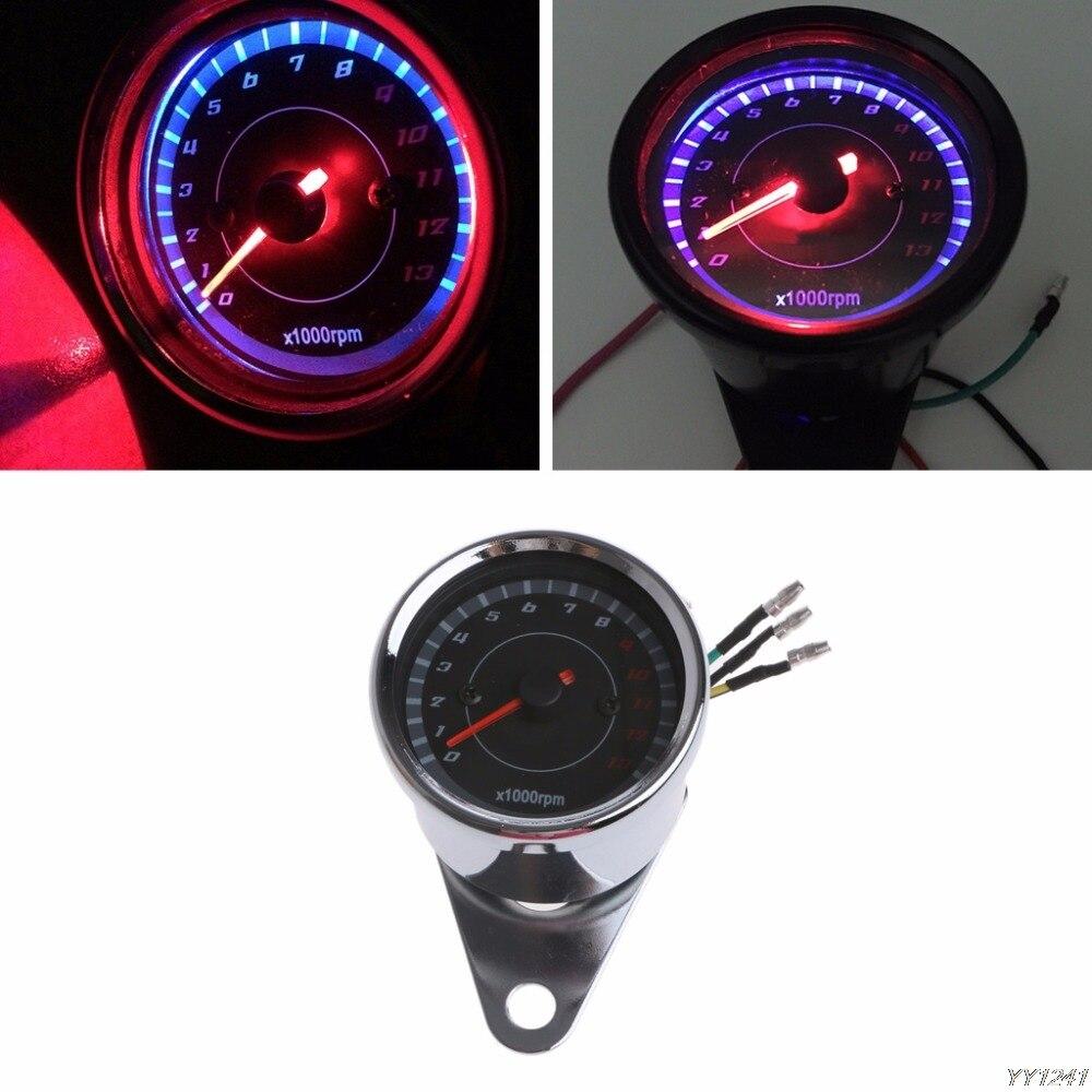 Universal LED Motorcycle Tachometer DC 12V Meter 13K RPM For Honda Yamaha Suzuki Instruments- G6KC