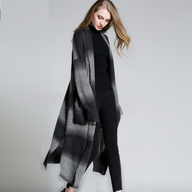 Envío gratis Nuevo 2016 Largo de punto Cardigan Abierto Stitch color degradado Suéter largo Otoño invierno Más Tamaño Suéter Ocasional 6910