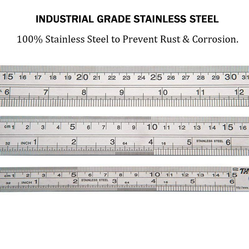 Stainless Steel Ruler Straight Edge Metal Ruler Set For Engineering Office And School 16 inch 40 cm 12 inch 30cm 6 inch in Rulers from Office School Supplies