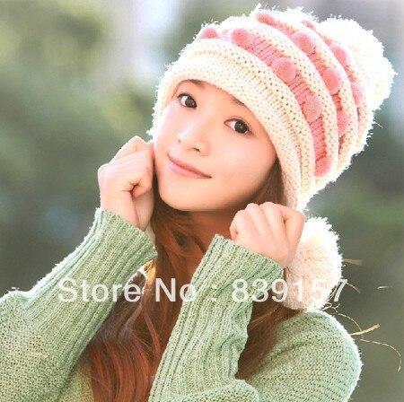 (1Piece) New fashion winter autum hat women knitting pattern thick winter hat Free shipping