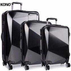 KONO Koffer Roll Gepäck Carry-ons Hand Trolley Reisetaschen 4 Räder Spinner Hardside PC ABS 20 24 28 zoll Set YD6671L
