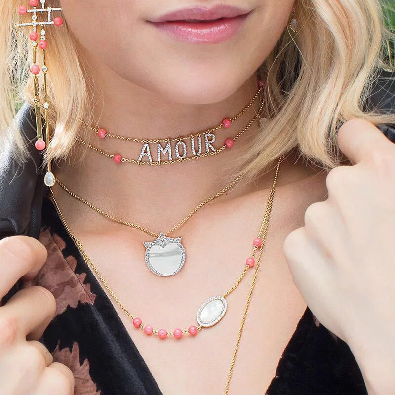 Real Sterling Silver Initial Letter Amour Necklace Red coral shell choker Zircon Name Pendant for Women Brand Monaco Jewelry real sterling silver initial letter amour necklace red coral shell choker zircon name pendant for women brand monaco jewelry