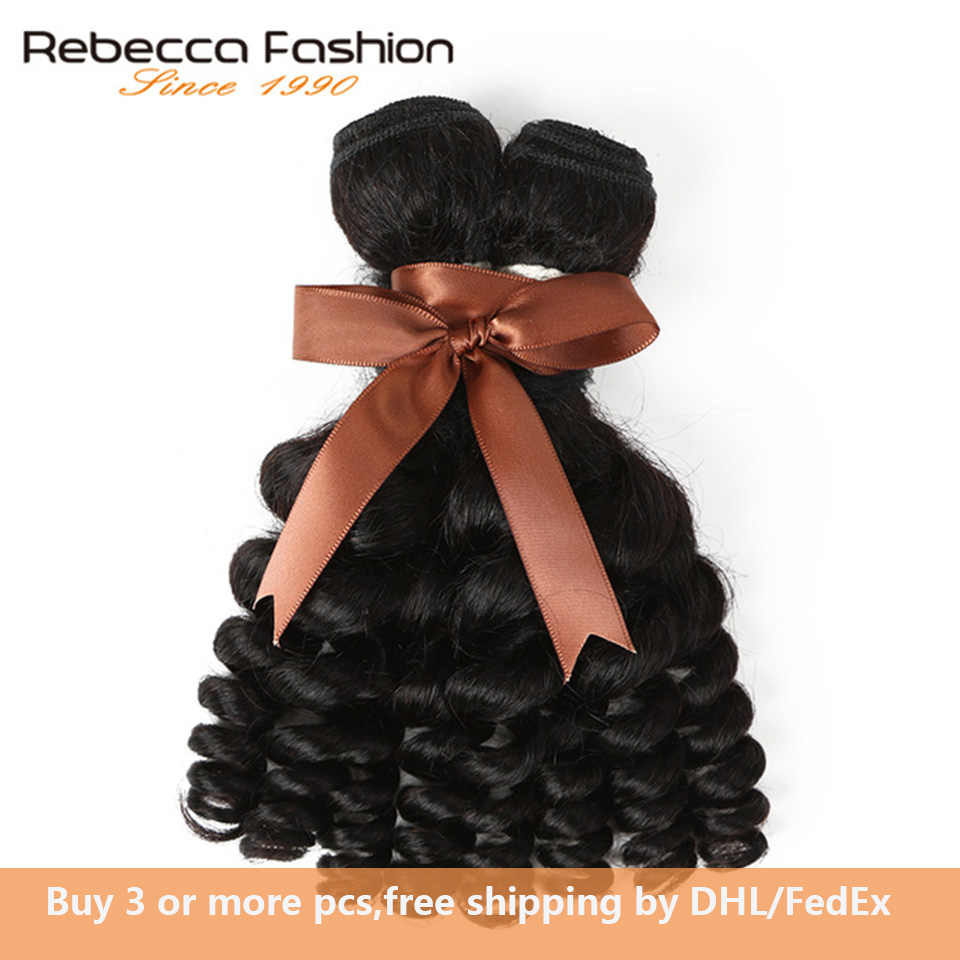 Rebecca Peruvian Fumi Curly Hair 1 Bundle Deals 10-26 Inch Natural Black Non Remy Human Hair Extensions Free Shipping