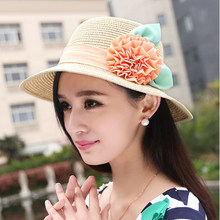 010785f46ea High quality Girl Summer Outdoor Travel Beach Flower Women Wide Brim Hat  Girl Straw Fisher Cap Lady UV Protection Panama Cap