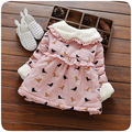 2016 winter turn dowm fur collar infant girls dresses birds print sweet newborn girls clothes thick kids party vestidos infantil