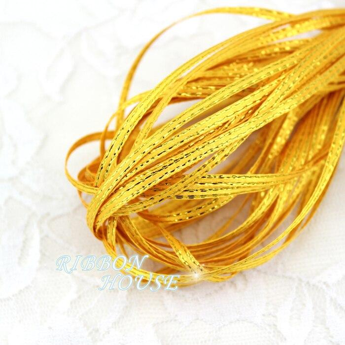 (20 м/лот) 1/8 »(3 мм) желтый золотой край, атласные ленты оптовая продажа
