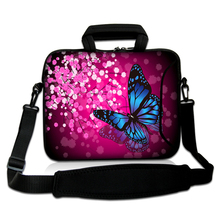 "Neoprene Netbook Handle Pouch10""13""14""15""17"" Brilliant Flower And Butterfly Type Laptop Shoulder Carring Sash Case Bag For Dell"