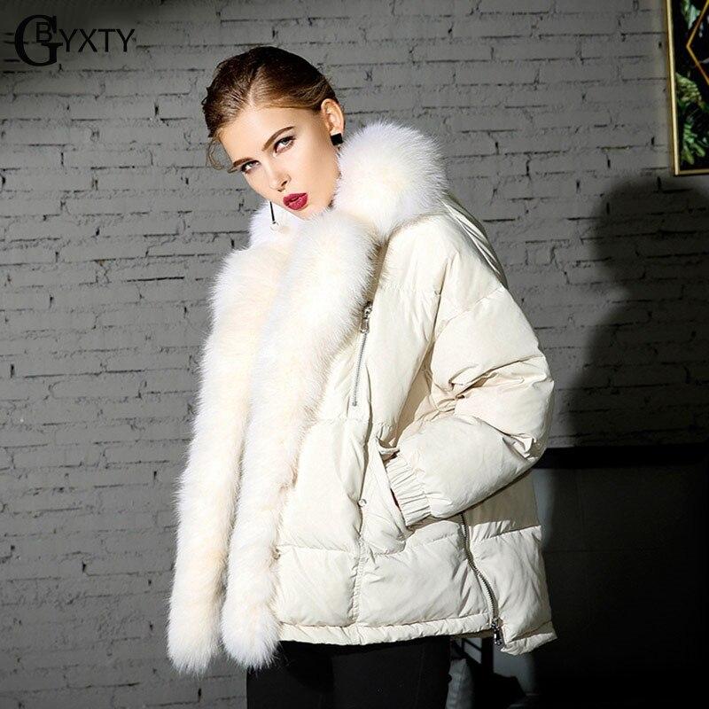 Gbyxty Et Épais D'hiver Noir Manteau Puffer Fourrure Des Col De Vers Le Réel blanc Fox Duvet Luxe Veste Plumes gris Femmes 2018 Bas Canard Za1174 wkZ8nO0PNX