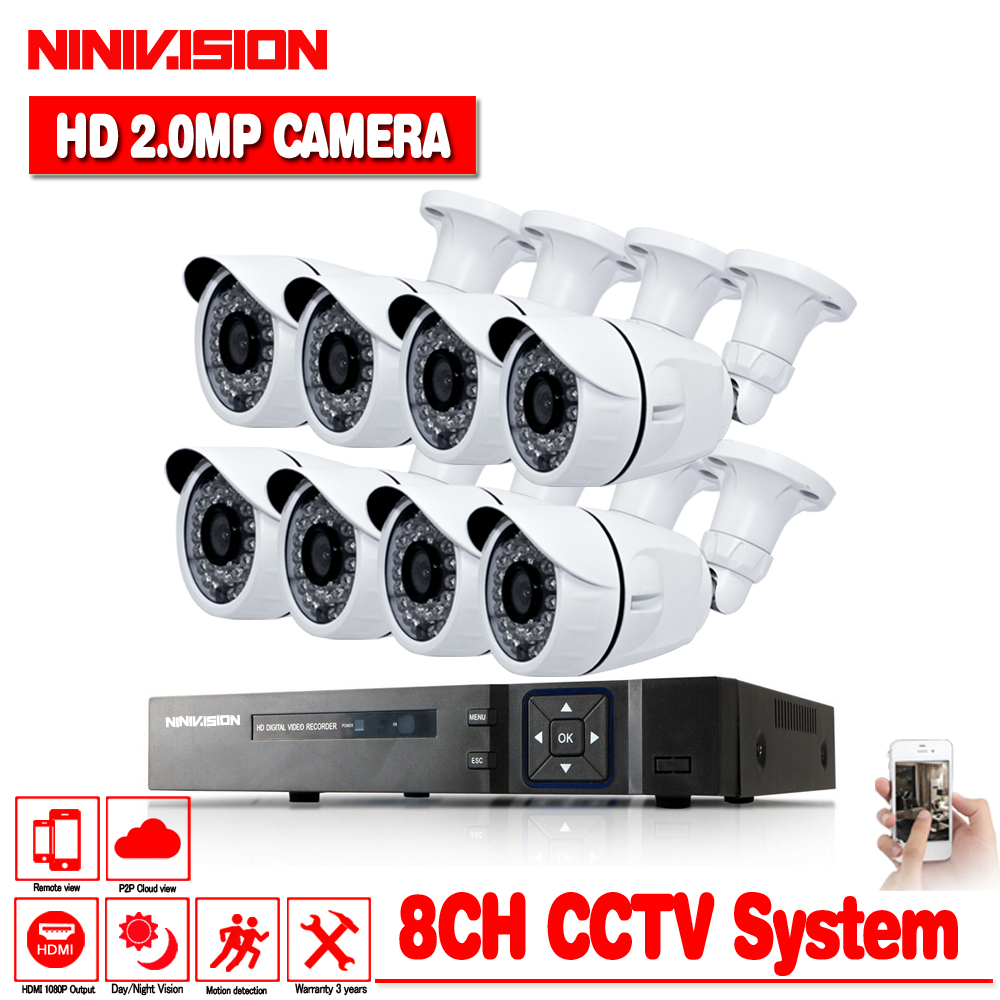 Security Camera System 8ch CCTV System 8 x 1080P CCTV Camera Surveillance System Kit White Bullet Camaras Seguridad Home no HDD ...
