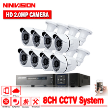 Security Camera System 8ch CCTV 8 x 1080P Surveillance Kit White  Bullet Camaras Seguridad Home no HDD