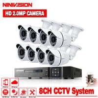 Sistema di Telecamere di sicurezza 8ch CCTV Sistema 8x1080 p Macchina Fotografica del CCTV Sistema di Sorveglianza Kit Bianco Proiettile Camaras Seguridad Casa no HDD
