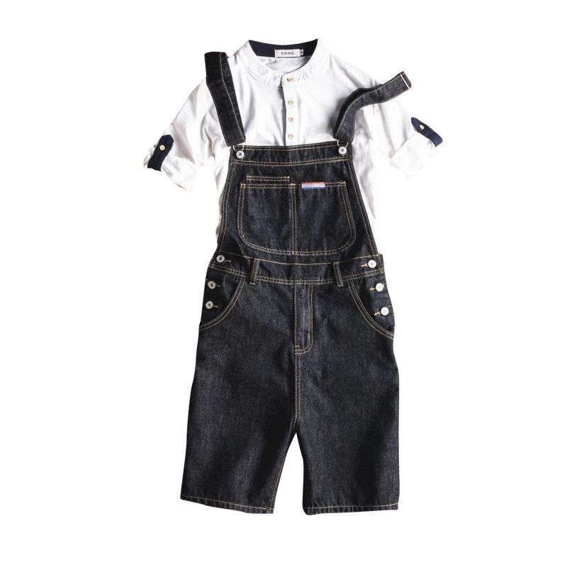New Fashion Casual Slim Black Denim Overalls Men Cargo Pants Male Jeans Jumpsuits Summer Sexy Short Denim Trousers