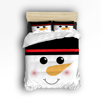 CHARMHOME Comforter Bedding Sets 4pcs Chrimstmas Snowman Cute Printed Duvet Cover Bed Sheet Pillow Cases Queen